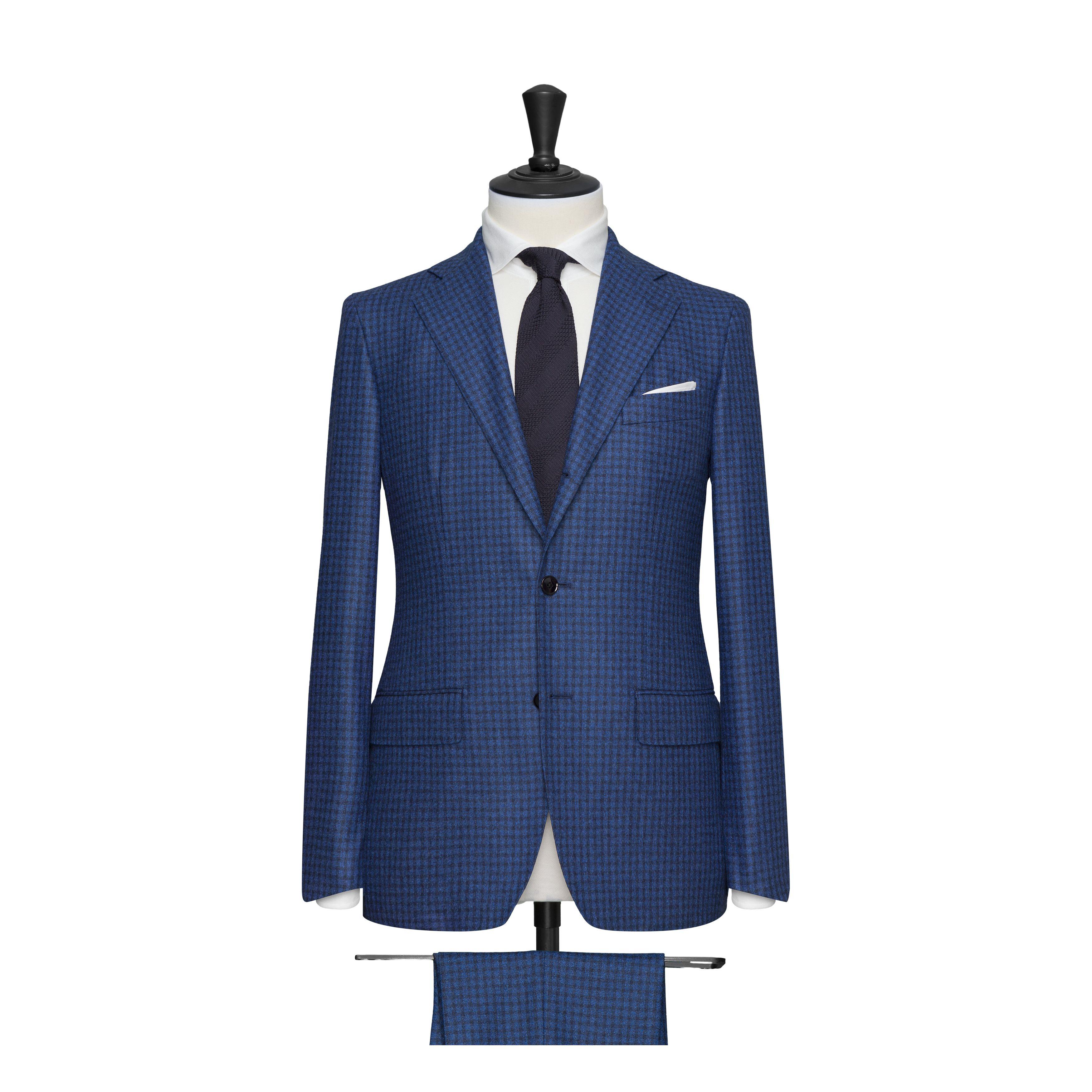 Costume petits carreaux, 2 boutons, poches droites - Bleu chardon