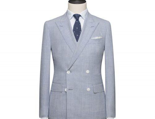 Costume croisé double boutonnière, tissu Fil à Fil – Bleu glacier